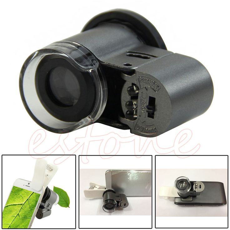Universal Optical 65X Cell Phone LED Light Telescope Camera Clip Microscope Lens #Unbranded