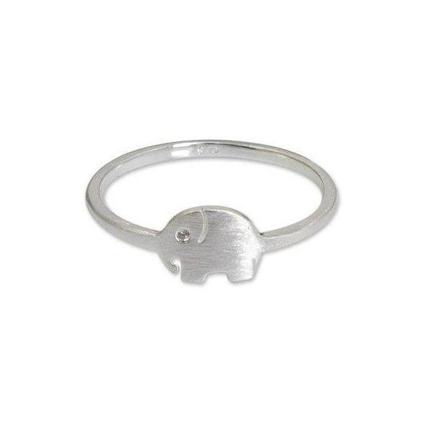 NOVICA Brushed Satin Sterling Silver Ring with Cubic Zirconia ($34) ❤ liked on Polyvore featuring jewelry, rings, band, clothing & accessories, cubic zirconia, sterling silver rings, cubic zirconia rings, sterling silver cz rings, cz jewelry and sterling silver elephant ring
