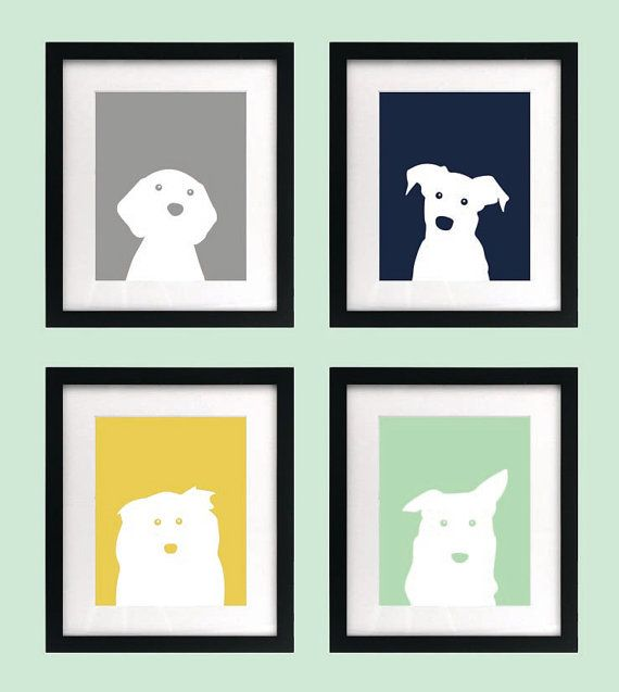 Thank you for viewing my listing! You are purchasing a set of four 5 x 7 printable dog prints for the walls of your babys nursery. This set comes with one navy blue, one mint, one yellow, and one grey print. ♥ The prints are meant to be framed. Organize them in a square or in a row. ♥ With your purchase, you are receiving one digital PDF file containing all four prints. Colors may vary slightly depending on the printer and paper used. ♥ Love the prints but want them in different colors?…