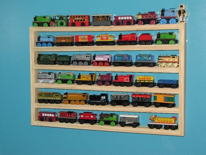 Thomas The Tank Engine Brio Wood Train Storage  Possible DIY? Love This Idea  For Storing Trains Out Of The Way