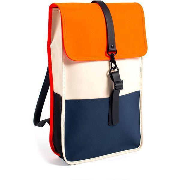 Rains Backpack - sand/orange/blue (1.210 ARS) ❤ liked on Polyvore featuring bags, backpacks, backpack, orange backpack, pocket backpack, rucksack bag, orange bag and knapsack bags
