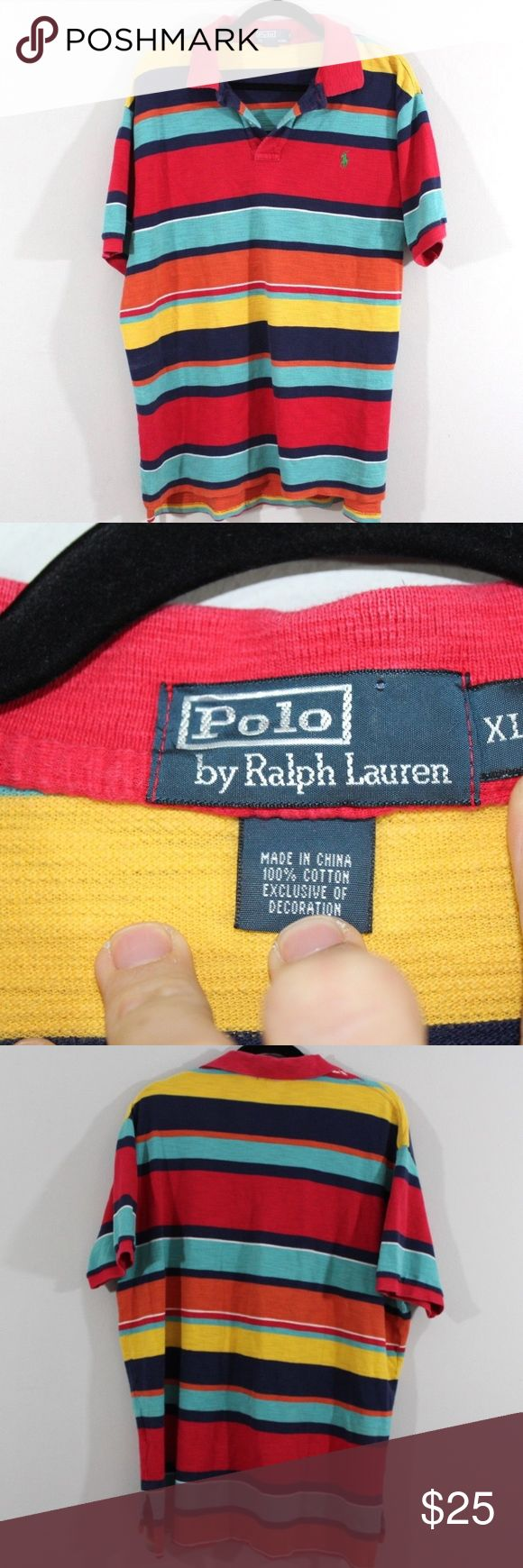 Polo by Ralph Lauren Striped Golf Shirt XL Polo by Ralph Lauren Striped Shirt  Excellent shirt  Comes from a smoke-free household  Multi-colored with a Green Pony logo  The size is XL and the measurements are 26 inches underarm to underarm and 30 inches shoulder to base  Cotton  Check out my other items for sale in my store!  MX Polo by Ralph Lauren Shirts Polos