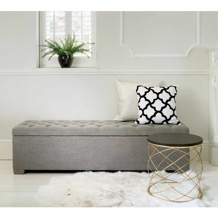Buttons Grey Ottoman | Storage | Bench