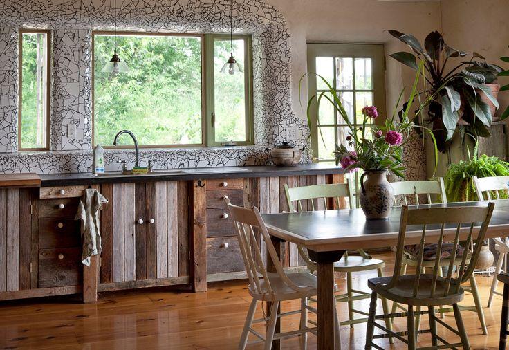 Straw Bale House Kitchen Mismatched Cabinets Broken Tile Back Splash