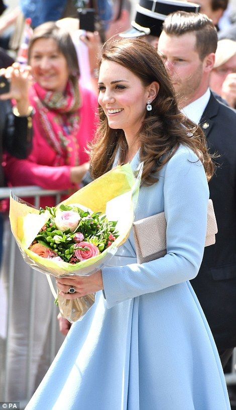 The Duchess of Cambridge was in good spirits as she left MUDAM (Musze d'Art Moderne) during a day of visits in Luxembourg