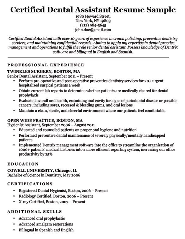 77 Interview Getting Resume Samples By Job Job Affirmations Resume Examples Dentist Resume Dental Hygiene Resume