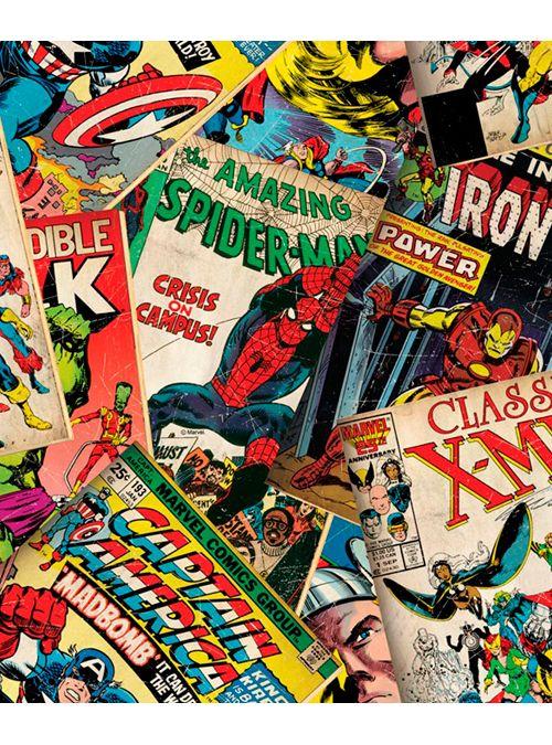 Carta da parati effetto copertine vintage dei fumetti Marvel Capitan America, Hulk, Thor, X-Man, spiderman, bella e originale questa fantastica carta da parati donerà uno sfodo particolare a qualsiasi stanza, dalla cameretta dei bambini ad un salotto giovane ad una camera da letto di una giovane coppia. Collezione allegra e vivace, carta da parati a fumetti, ideale per la cameretta dei bambini...i