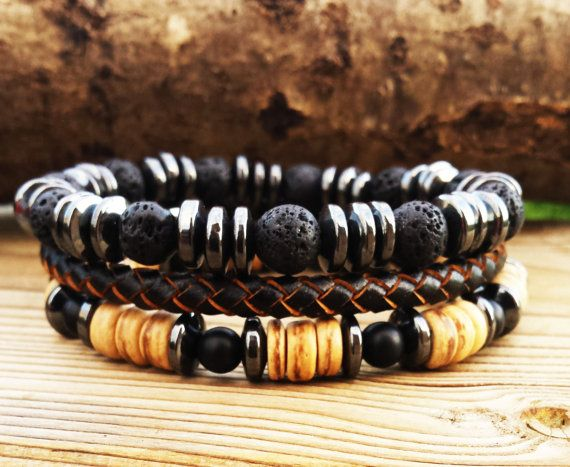 Mens Bracelet Stacking Man Cool Bracelet Set Hematite Bracelet Braided Leather Bracelet  Surfer Wrist Wear Gift For Guys  For Him