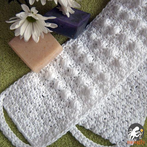Crochet pattern Pampering Massage Back Scrubber -- use acrylic yarn.   Improvise some sturdier handles.