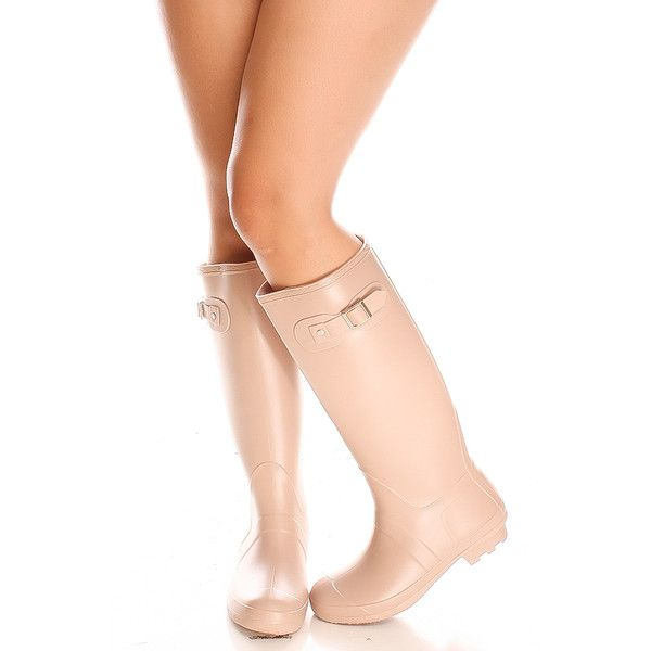 nude slip on knee high rubber rain boot ($30) ❤ liked on Polyvore featuring shoes, boots, nude, round cap, rounded toe boots, slip on rain boots, round toe boots and slipon boots