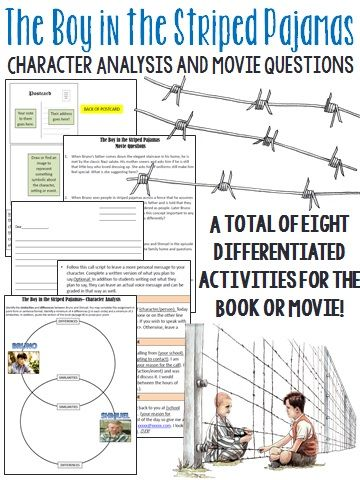 After reading the novel, or watching the movie, The Boy in the Striped Pajamas, students can use the following questions and activities to further their understanding. A total of 8 differentiated activities are included!