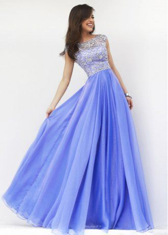 Romantic Beaded Sheer High Neck Floor Length Periwinkle Evening Dress