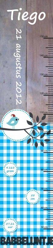 Groeimeter Tiego (gepersonaliseerd) | Groeimeters | Babbelijntje - Mama en Baby kado`s