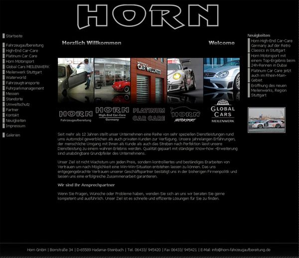 Internetauftritt der Fahrzeugaufbereitung Horn