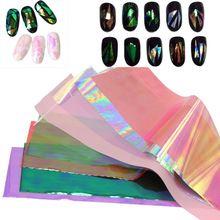 10/20 Cores 3D Holográfico Folhas de Vidro Quebrado Dedo Espelho Adesivos Glitter Stencil Decalque Da Arte Do Prego DIY Manicure Ferramentas de Design alishoppbrasil