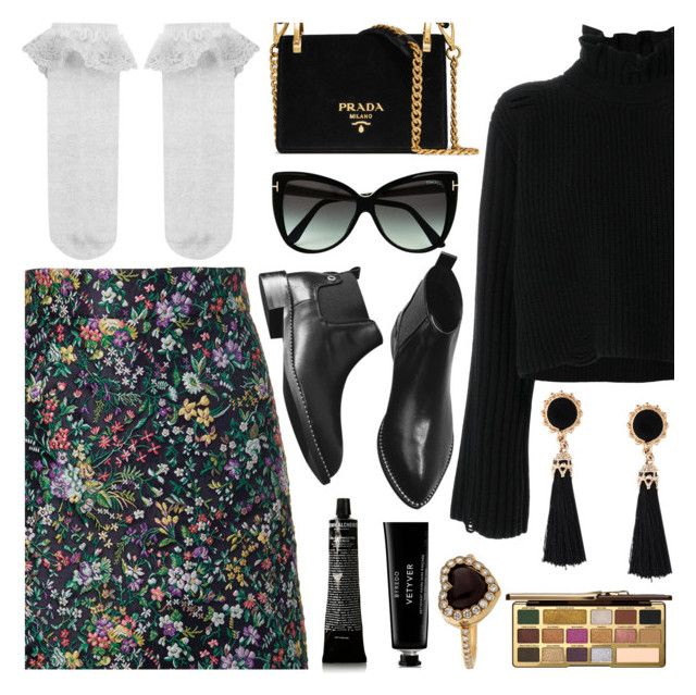 """""""Winter Flower."""" by refinedpunk ❤ liked on Polyvore featuring TIBI, Golden Goose, Monsoon, Tom Ford, Prada, Too Faced Cosmetics, Grown Alchemist, Byredo, Christian Dior and blackbooties"""