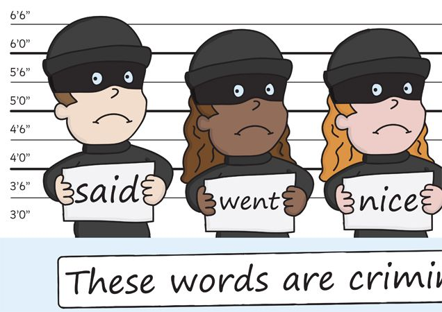 Teacher's Pet Displays » These Words Are Criminal Banner » FREE downloadable EYFS, KS1, KS2 classroom display and teaching aid resources » A Sparklebox alternative