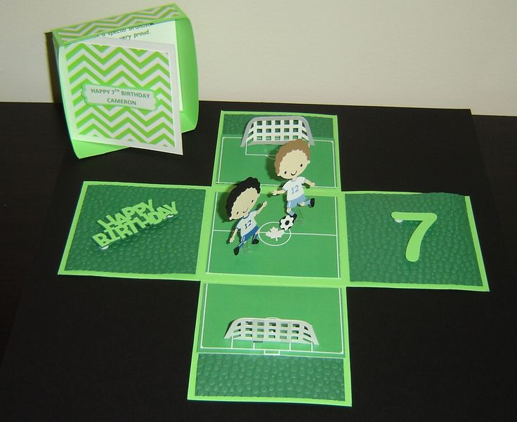 Exploding Box Birthday Card. Soccer Field Theme