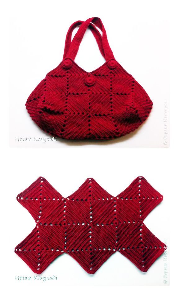 Crochet squares bag - chart & instructions