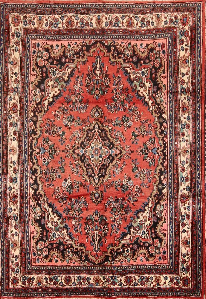 Handmade Floral Coral Color 7x10 Hamedan Persian Oriental Area Rug Wool Carpet #Handmade #TraditionalPersianOriental