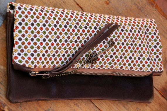 So nice! Handmade chocolate brown leather and cotton fold over style clutch bag.
