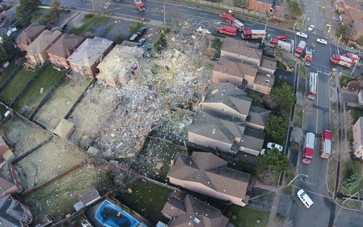 Aftermath of house from gas explosion in Toronto suburb