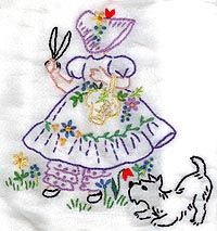 Vintage embroidery color ideas~my mom sewed many of these when she was a young bride!