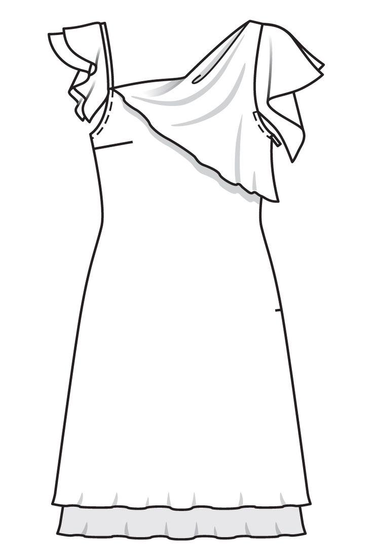 Платье с асимметричным декольте