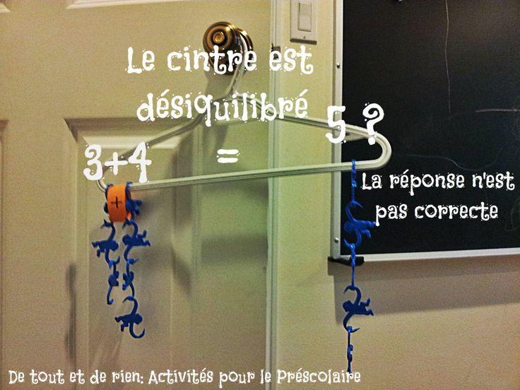 De tout et de rien: Activités pour le Préscolaire: Plastic hangers, monkeys and mathematics: Algebra balance scale- Cintre, singes et mathématiques: balance algébrique