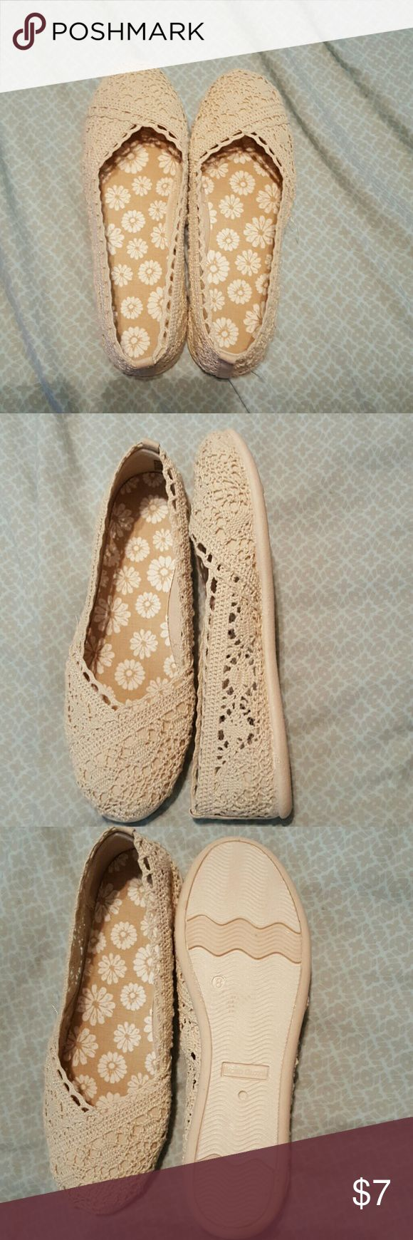 Faded Glory Tan Crochet Flats Beige crochet ballet flats brand new open detail on the sides Faded Glory Shoes Flats & Loafers