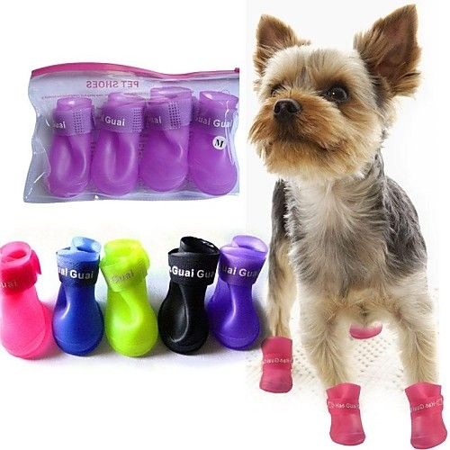 Cat / Dog Shoes & Boots Waterproof Winter / Spring/Fall Solid Yellow / Blue / Purple / Black / Pink Silicone 2017 - €4.45