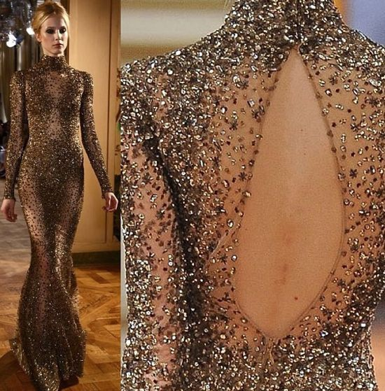 Zahir murad gold bronze long evening dress evening for High couture designers