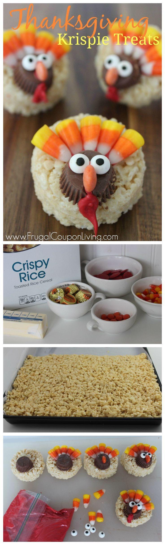 Thanksgiving Turkey Rice Krispie Treats - Kids Food Craft on Frugal Coupon Living. Rice Krispie Treat Recipe. Thanksgiving Dessert Idea.