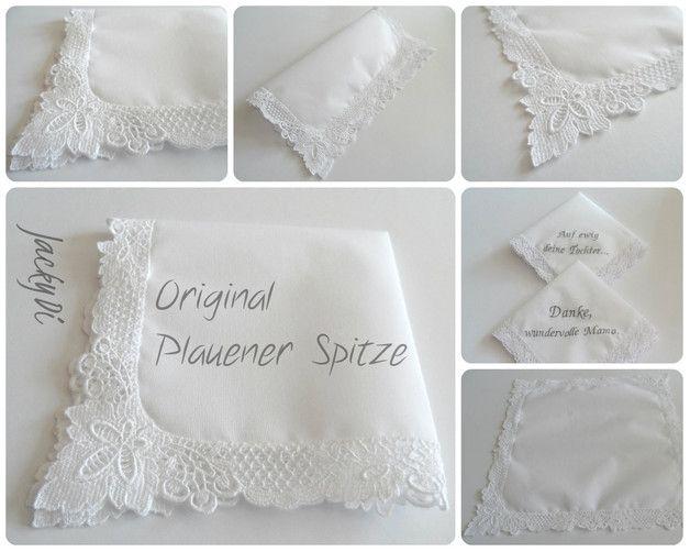 NEU!!!  Stofftaschentuch mit echter Plauener Spitze zum individuellen Besticken, erstklassige Verarbeitung!