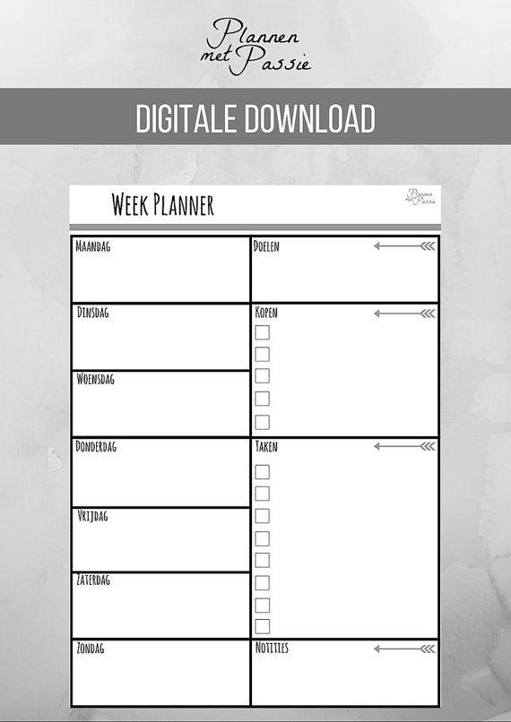 Weekplanner A4 Zwart/ Wit, Printable, Digitaal, Wekelijkse ...