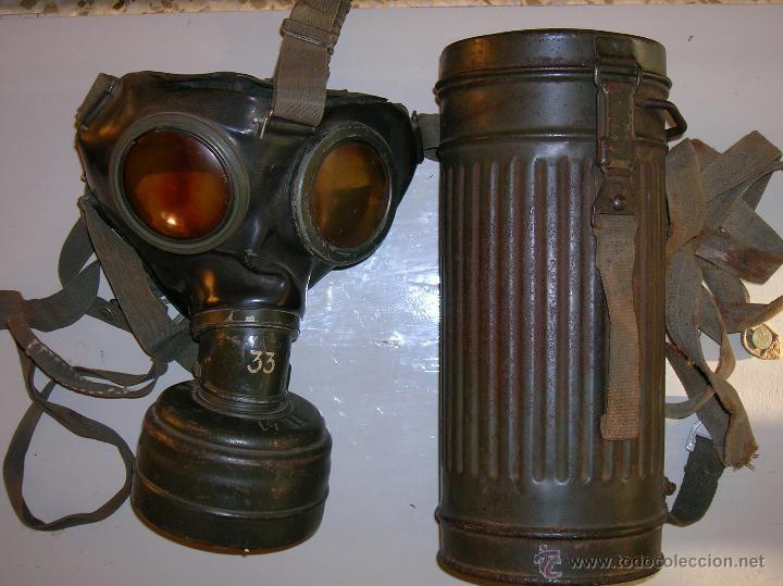 Mascara antigas alemana GM-38 con pote de 1944 y descontaminante. Segunda Guerra Mundial en todocoleccion