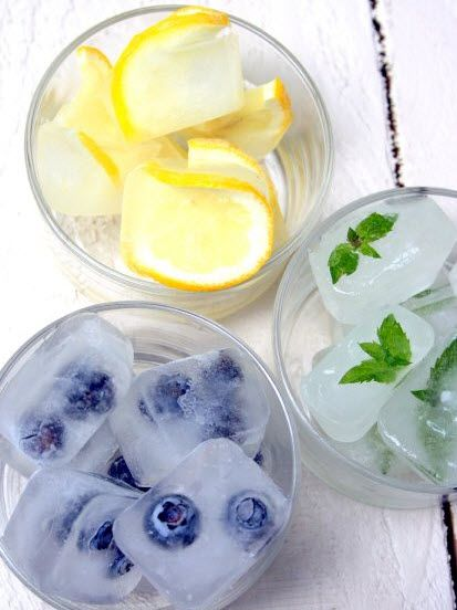 Fruity Ice Cubes Perfect for sparkling water, lemonade, and other summer drinks.