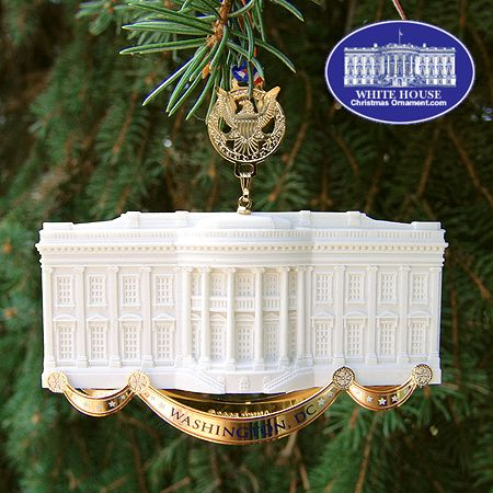 The White House Ornament Collection presents The official 2005 Commemorative White House Ornament. This elegant ornament is crafted with sandstone from the same Virginia quarry that produced the sandstone used to build the exterior walls of the White House more than 200 years ago.