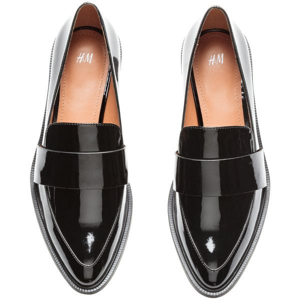 Patent Loafers $39.99 (2.440 RUB) ❤ liked on Polyvore featuring shoes, loafers, black loafer shoes, black patent leather loafers, rubber sole shoes, mid-heel shoes and black shoes