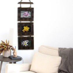 "Set of 3 Vintage Teak Wood Wooden Wall Art Hanging Photo Picture Frames 4x6"" #107"