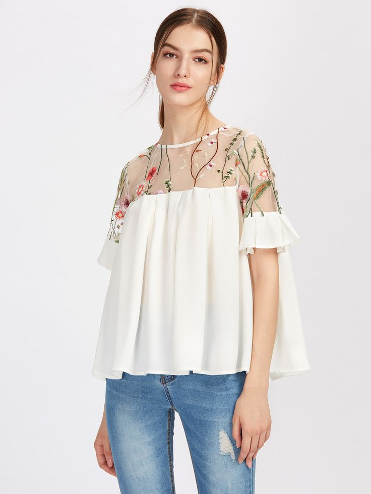 Top plisado con bordado -Spanish SheIn(Sheinside)