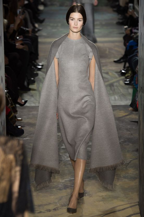 Valentino Printemps 2014. This ensemble, in soft, dove-grey wool jersey, presents an attention to fitting and sewing that has not been seen since the great days of Balenciaga. This...is haute couture.