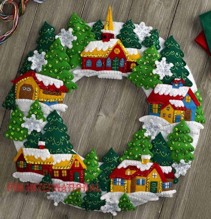Bucilla Snow Village Wreath ~ Felt Christmas Home Decor Kit #86686, Church Trees in Crafts, Needlecrafts & Yarn, Embroidery & Cross Stitch | eBay!