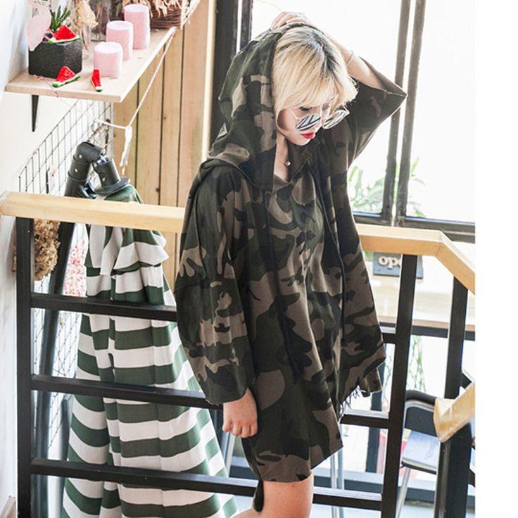 패션 Killa 까마귀 드레스 여성 스웨터 후드 여성 드레스 긴 소매 후드 카모 느슨한 캐주얼 긴 드레스