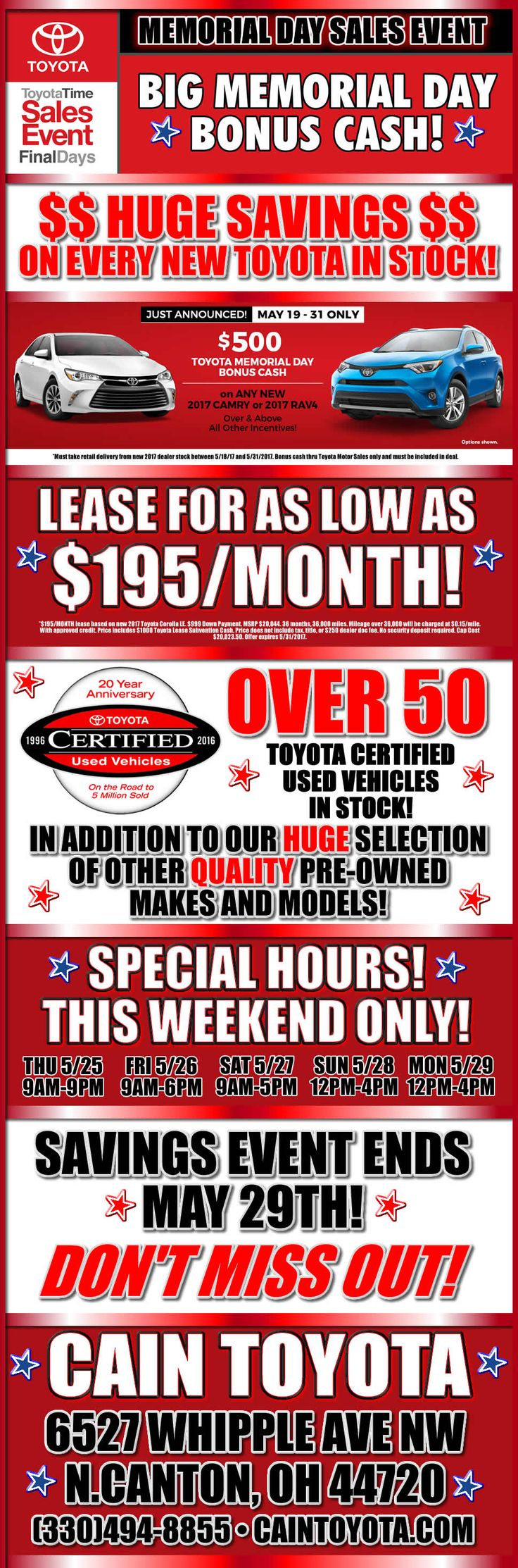 Our Memorial Weekend sales event is on NOW! Stop in and check out the deals!