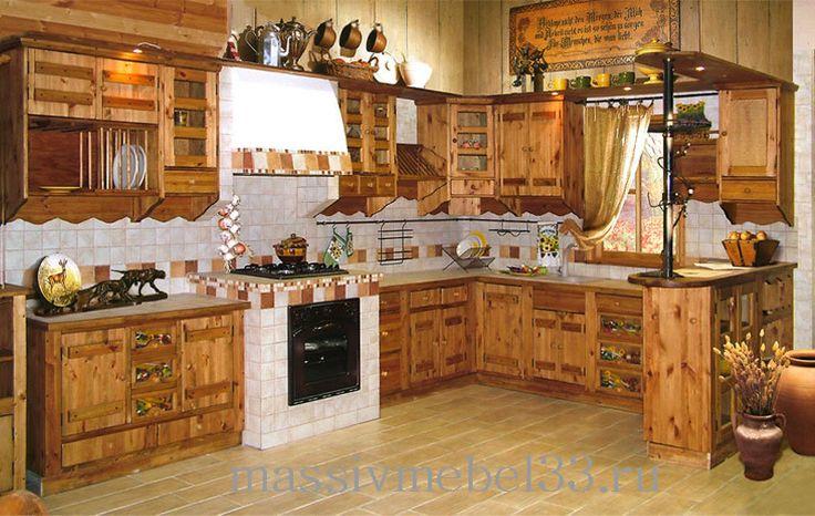 Мебель на заказ в Москве из сосны,дуба:Кухня под старину массив дуба, сосна