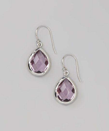 Violet Quartz & Silver Teardrop Earrings