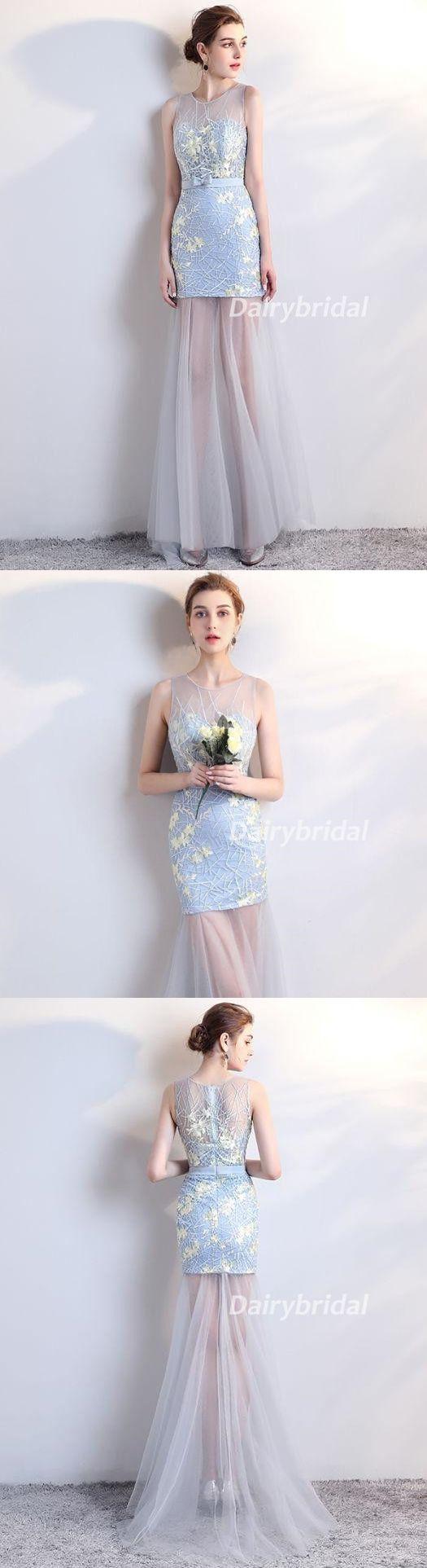 Applique Prom Dresses, Mermaid Prom Dresses, See Through Prom Dresses, Tulle Evening Dresses,DA900 #dairybridal #promdress