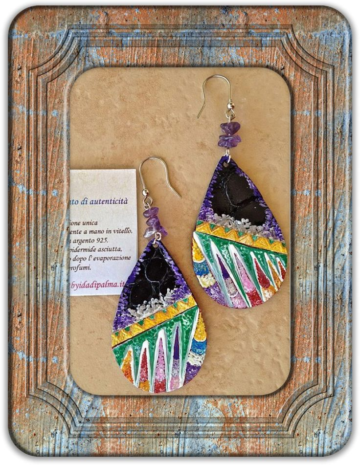 Earrings, the collection Insight by Ida Di Palma. Hooks 925 silver gilt and semiprecious stones.Calf hand-painted