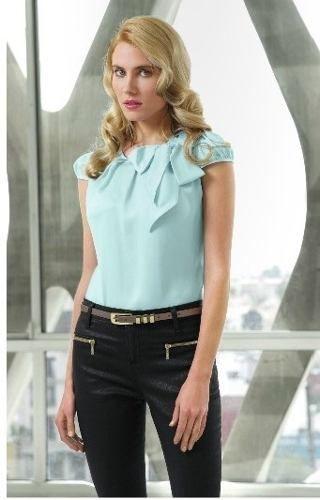 blusa con moño color aqua